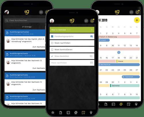 3 Smartphone Screens mit verschiedenen Ansichten aus dem Azubi Guide
