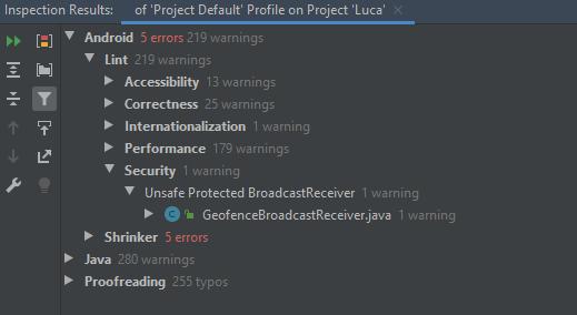 Android-spezifische Warnungen durch Inspect Code