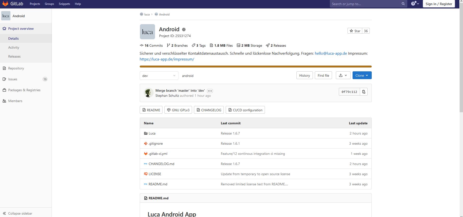 Quellcode der luca App auf GitLab