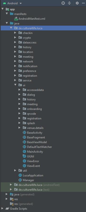 Projektbaum der luca App in Android Studio