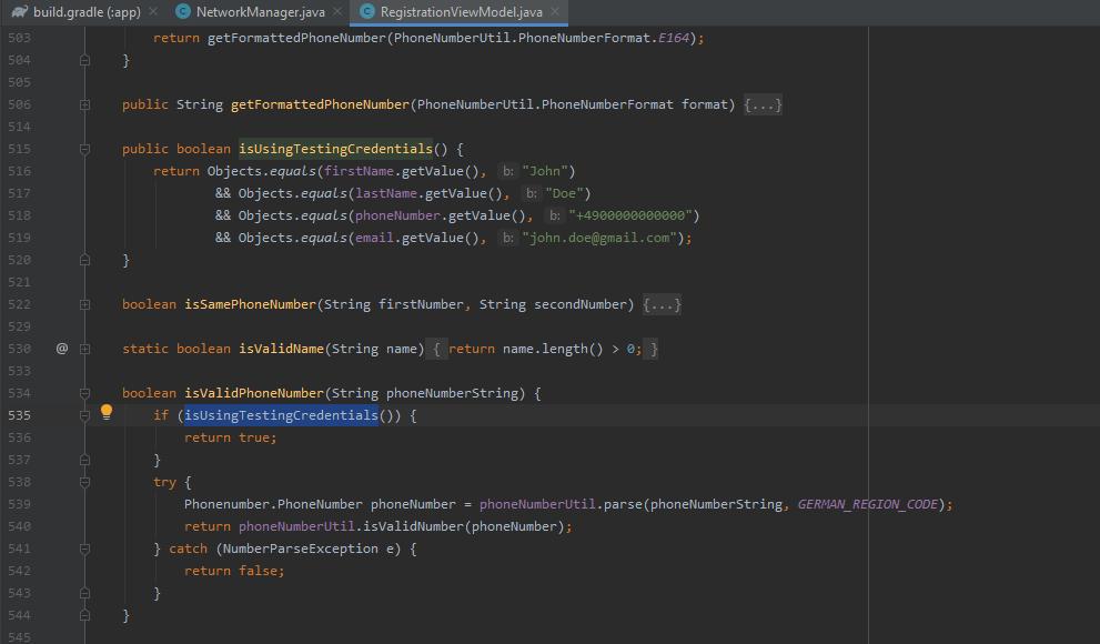 Vorhalten eines Test-Accounts im Code der luca App