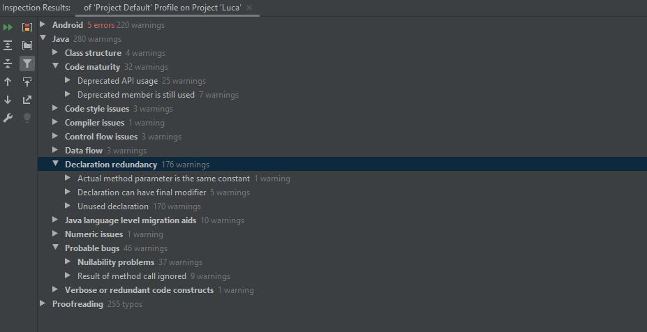 Java-spezifische Warnungen via Inspect Code